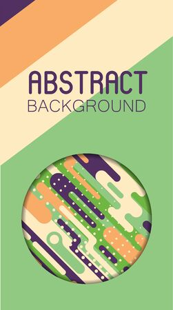 Abstract geometric background with colorful rounded shapes and lines. Pop art style backdrop for polygraphy and web design. Minimalist simple art vector illustration.