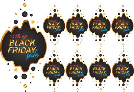Black Friday labels set in black and gold