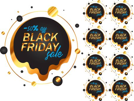 Black Friday labels set in black and gold
