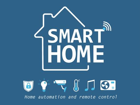 Smart home flat icons set