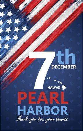 Pearl Harbor, día del recuerdo de Hawái Ilustración de vector