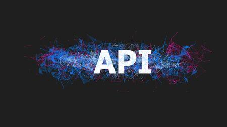 API application programming interface banner with colorful plexus design. Software technology illustration. Online courses of coding poster. Website development, front end engineering design. Foto de archivo