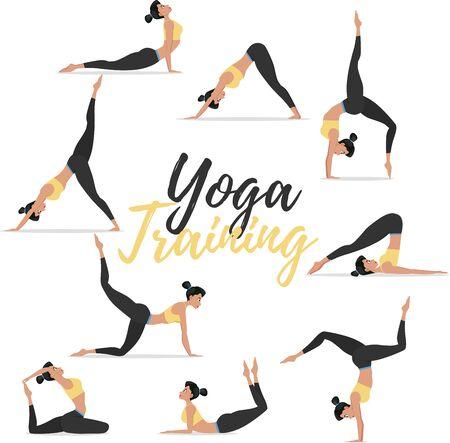 Yoga asanas set isolated on white background Ilustración de vector