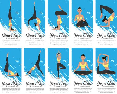Yoga class vertical flyers in flat style Vector Illustration