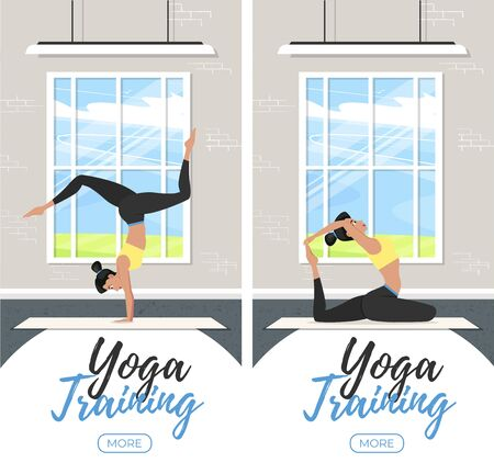 Yoga training vertical flyers in flat style