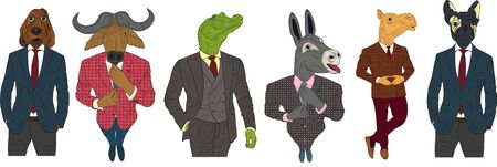 Characters of various animals in business suits and ties. Dog, bull, crocodile, camel and donkey cartoon business animal mascots isolated vector illustration. Stock Illustratie