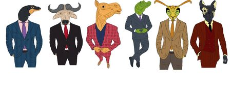 Characters of various animals in business suits Stock Illustratie