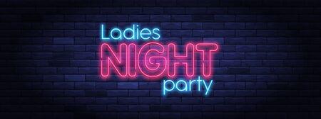 Ladies night party neon banner