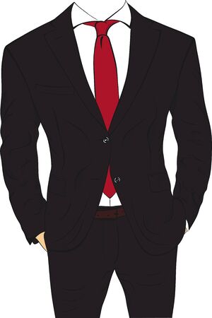 Business suit without head isolated on white background. Businessman body without head vector illustration. Ilustracje wektorowe