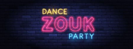 Zouk dance party colorful neon banner Ilustracja