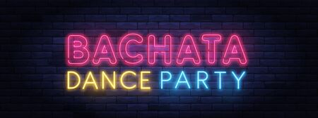 Bachata dance party colorful neon banner Ilustracja