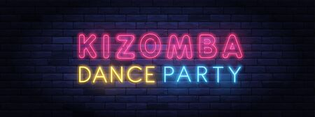 Kizomba dance party colorful neon banner