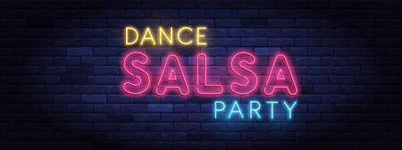 Salsa dance party colorful neon banner