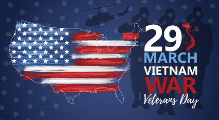 National vietnam war veterans day banner Ilustração Vetorial