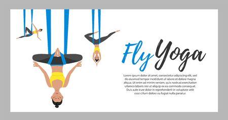 Beautiful girl wearing sportwear doing fly yoga Illustration
