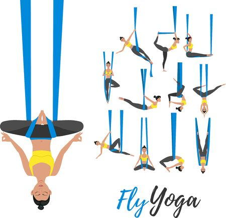 Beautiful girl wearing sportswear doing fly yoga stretching exercises. Anti-gravity relaxing and practices aerial yoga. Sport healthy lifestyle and fitness training vector illustration.