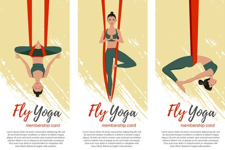 Beautiful girl wearing sportwear doing fly yoga stretching exercises. Anti-gravity relaxing and practices aerial yoga flyers set. Sport healthy lifestyle and fitness training vector illustration. Ilustracja