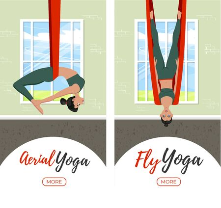 Beautiful girl wearing sportwear doing fly yoga stretching exercises. Anti-gravity relaxing and practices aerial yoga in gym. Sport healthy lifestyle and fitness training vector illustration.