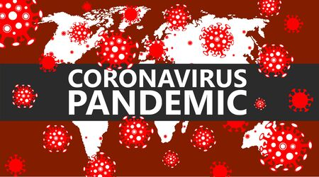 Global coronavirus pandemic banner. Covid-19 colorful moving background with world map and virus cells vector illustration
