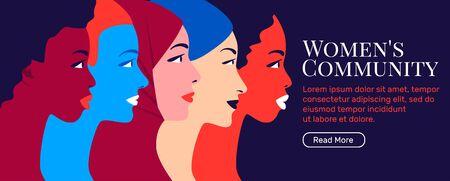 Women community. Young multi ethnic women profile