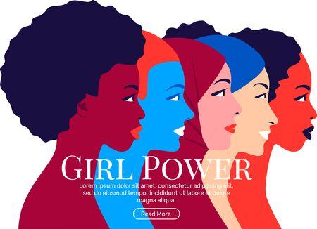 Girl Power. Young multi ethnic women profile