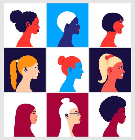 Young multi ethnic women in profile
