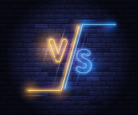 Illuminated neon versus screen design. Battle headline, confrontation and comparison template. Light electric banner glowing on background of bricks wall. Colorful neons vector illustration.