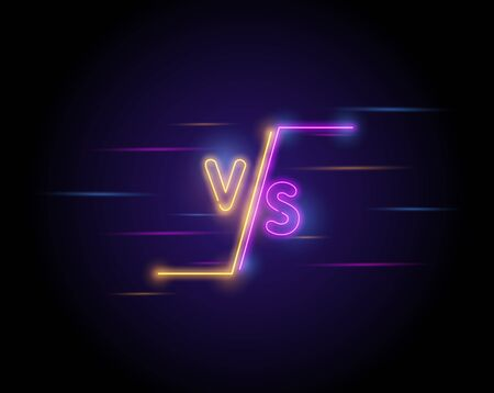 Illuminated neon versus screen design. Battle headline, confrontation and comparison template. Light electric banner glowing on dark background. Colorful neons vector illustration. Ilustracja