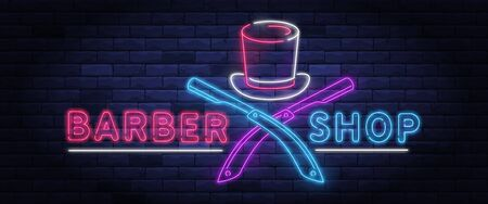 Illuminated neon barber shop design with gentleman top hat and razor blade. Hairstyling and beard grooming salon for gentlemans. Light electric banner glowing on background of bricks wall vector