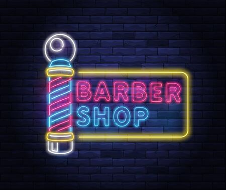 Illuminated neon barber shop design. Vintage barbershop pole with stripes template. Hairstyling and beard grooming salon. Light electric banner glowing on background of bricks wall vector illustration