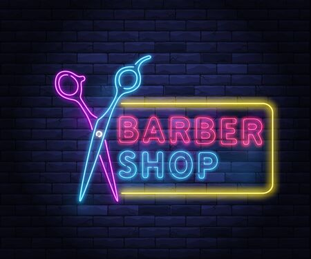 Illuminated neon barber shop design with scissors. Hairstyling and beard grooming salon for gentlemans. Light electric banner glowing on background of bricks wall vector illustration. Ilustracja