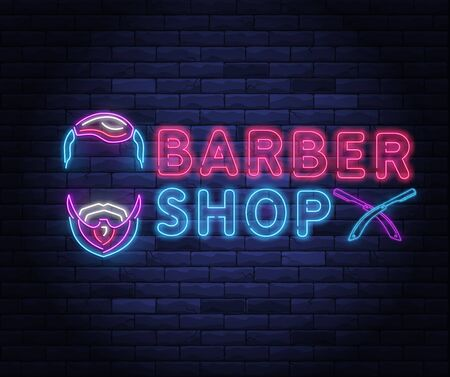 Illuminated neon barber shop design with razor blade. Hairstyling and beard grooming salon for gentlemans. Light electric banner glowing on background of bricks wall vector