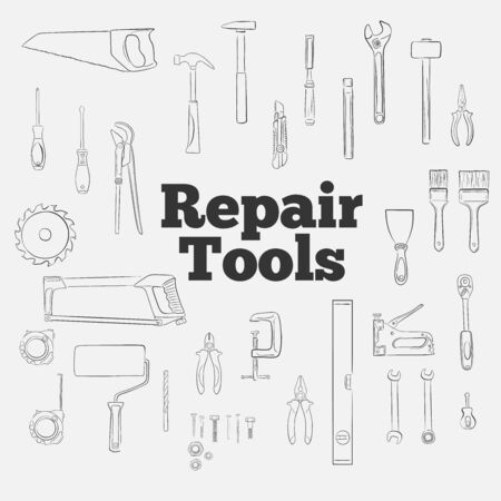 Repair tools outline icons set. Construction workshop equipment isolated elements. Handwork tools for carpentry and home renovation. Mechanic instruments for DIY store vector illustration.