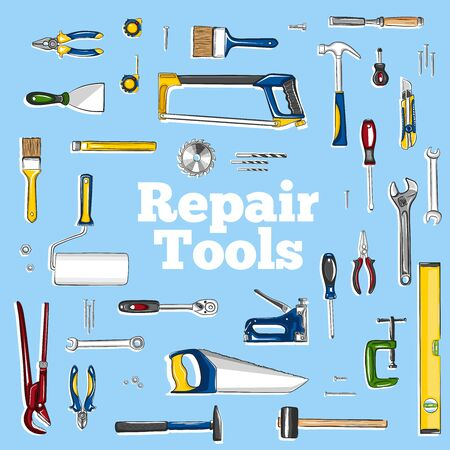 Repair tools icons set in cartoon style. Construction workshop equipment isolated elements. Handwork tools for carpentry and home renovation. Mechanic instruments for DIY store vector illustration.
