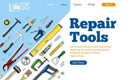 Repair tools landing page. Construction hand tools sketches for carpentry, handyman service advertising. Craftsmanship and handwork cartoon layout. Artisan mechanic workshop vector illustration. Ilustracja