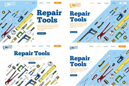 Repair tools landing pages set. Construction hand tools sketches for carpentry, handyman service advertising. Craftsmanship and handwork cartoon layout. Artisan mechanic workshop vector illustration. Ilustracja