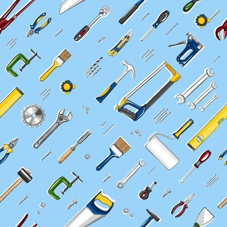 Repair tools seamless, pattern in cartoon style. Construction workshop equipment background. Handwork tools for carpentry and home renovation. Mechanic instruments for DIY store vector illustration.