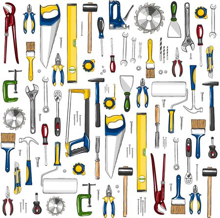Repair tools seamless, pattern in sketch style. Construction workshop equipment background. Handwork tools for carpentry and home renovation. Mechanic instruments for DIY store vector illustration.