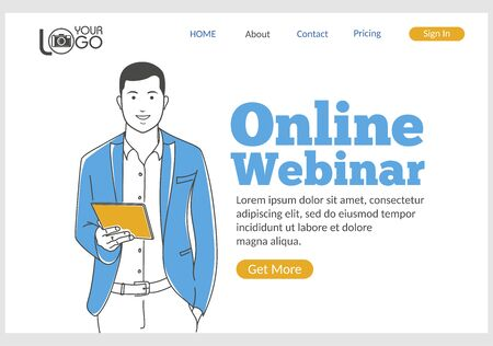 Online Webinar landing page in thin line style. Young smiling man with laptop computer. Distance learning, online webinar, courses and skills development concept. Digital technology and innovations. Ilustracja