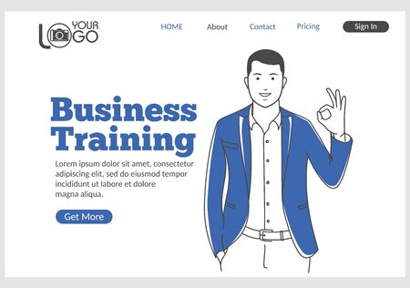 Business Training landing page in thin line style. Young smiling man with Okay gesture. Distance education, professional courses, e-learning concept. Digital technology and innovations. Ilustracja