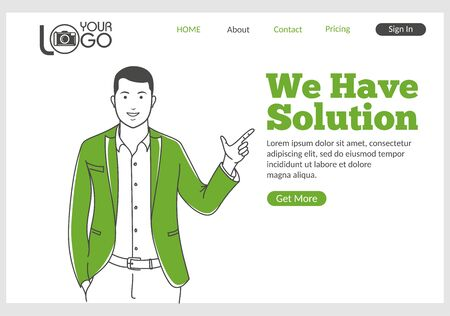 We have Solution landing page in thin line style. Young smiling man finger pointing at text. Software development for business, assistance and consultation. Digital technology and innovations. Ilustracja
