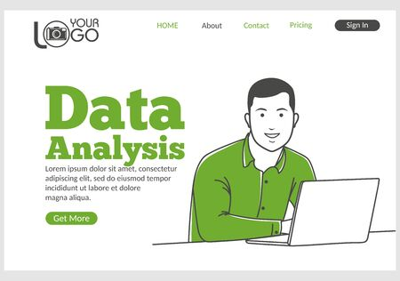 Data analysis landing page in thin line style. Young smiling man sitting at desk with laptop. Business analysis software development, support and consultation. Digital technology and innovations Ilustracja