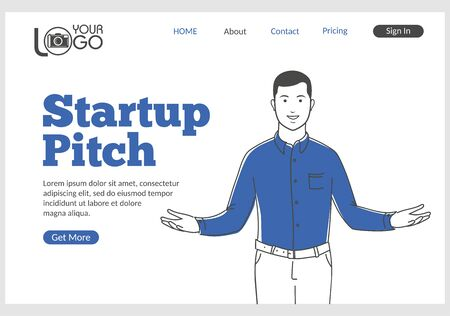 Startup Pitch landing page in thin line style. Young confident man opening his arms wide. Startup business platform, idea analysis and investor presentation. Digital technology and innovations