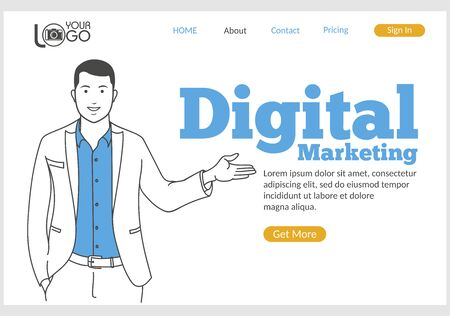 Digital Marketing landing page in thin line style. Young smiling man pointing at text. SMM and SEO technology, social media and web content promotion concept. Digital technology and innovations. Illustration