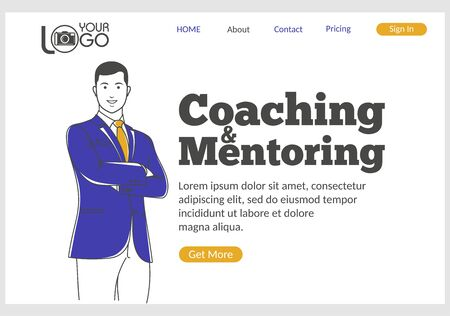Coaching and Mentoring landing page in thin line style. Young confident man with crossed arms. Business education and skills development, motivation and education. Digital technology and innovations.