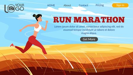 Run marathon landing page. Athletic woman sprinter running. Sport motivation and healthy lifestyle. Rural landscape with golden hills and blue sky. Outdoor fitness activity and marathon training. Ilustracja