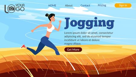 Jogging landing page. Athletic woman sprinter running. Sport motivation and healthy lifestyle. Rural landscape with golden hills and blue sky. Outdoor fitness activity and marathon training.