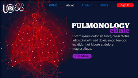 Pulmonology clinic landing page. Futuristic medical concept with red human lungs. Abstract geometric design with plexus effect on dark background. Healthcare and pulmonology banner with copy space.