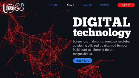Digital technology landing page with plexus elements. Geometric design with lines, dots and triangles on dark background. Futuristic digital web design with UI UX elements. Colorful abstract