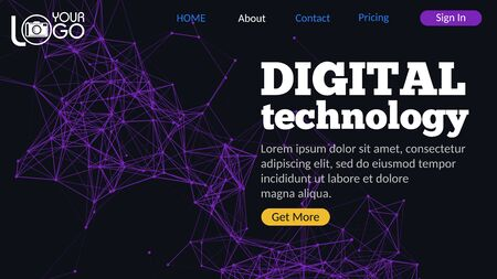 Digital technology landing page with plexus elements. Geometric design with lines, dots and triangles on dark background. Futuristic digital web design with UI UX elements. Colorful abstract Zdjęcie Seryjne - 150526588